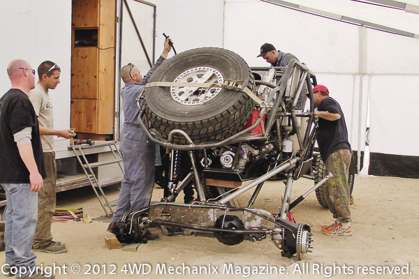 Crews furiously worked on race cars prior to the 2012 Griffin King of the Hammers Race!