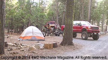 Volunteers camp at South Fork Campground for June 2014 WFTW Rubicon Super Event.