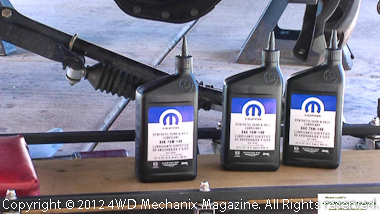 Mopar synthetic gear lube for an AAM axle