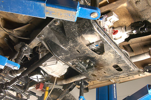 YJ Wrangler skid plate modifications.