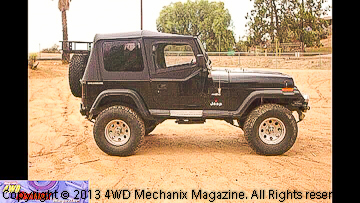 Bestop Supertop NX soft top and upper door kits installed on Jeep YJ Wrangler
