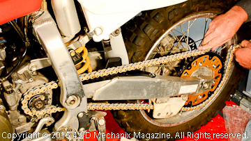 Chain, sprockets and final drive upgrades for a dirt motorcycle.
