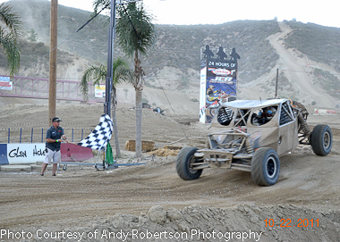 #457 car crossing the finish line at Glenn Helen...Photo Courtesy of Andy Robertson Photography.