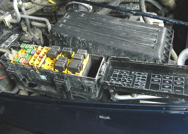 Fuse and relay box on a later Jeep Wrangler.