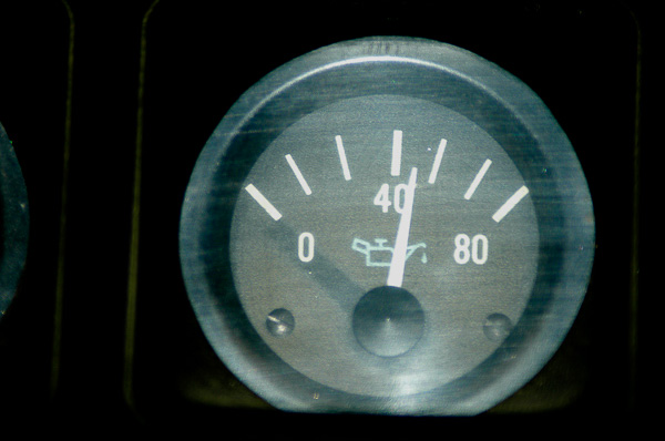 Oil pressure gauge on a YJ Jeep Wrangler model.