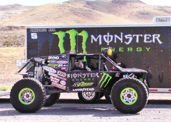 Shannon Campbell's Ultra4 car ready for pre-running near Reno, Nevada
