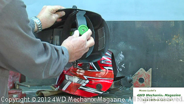 Gear ratching headgear adjustment for Striker Stealth welding helmet