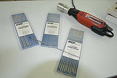 HTP America TIG welding electrodes and tungsten tip sharpener