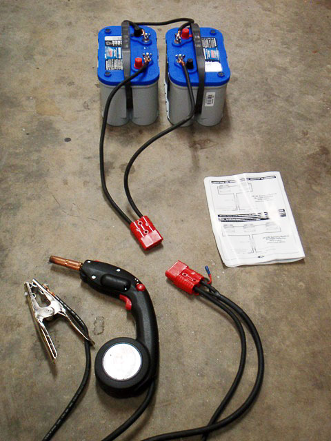 Batteries in circuit with Ready Welder equipment.