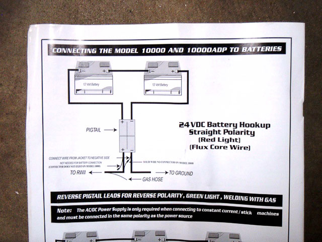 Instruction booklet and wiring schematic for batteries in series.