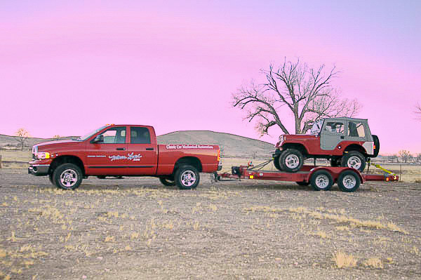 The magazine's 2005 Dodge Ram 3500 pulling a vintage CJ-5 Jeep 4WD