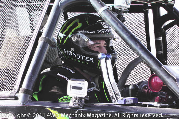 Shannon Campbell in a contemplative moment before the start of the 2011 Stampede Ultra4 Race near Reno...