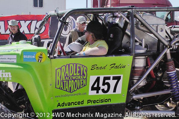 Brad Falin at the wheel of Duramax diesel-powered buggy in contingency row, Hammertown 2012!