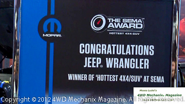 The huge Mopar display announced the new Jeep division of Mopar Performance.