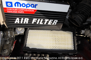 New Mopar air filter installed in the air box