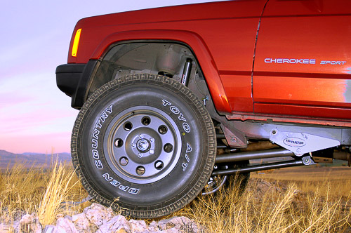 Profile of lifted XJ Cherokee reveals substantial ground clearance.