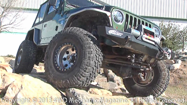 This test mule is a 2007 Jeep TJ Wrangler with a 5.3L LS V-8 conversion.