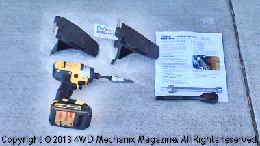Tools and parts necessary for the mirror bracket installation