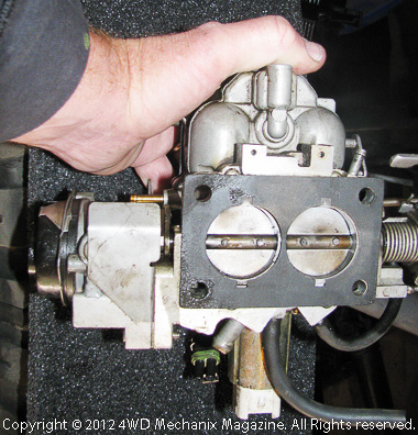 Base of BBD Jeep two-barrel carburetor
