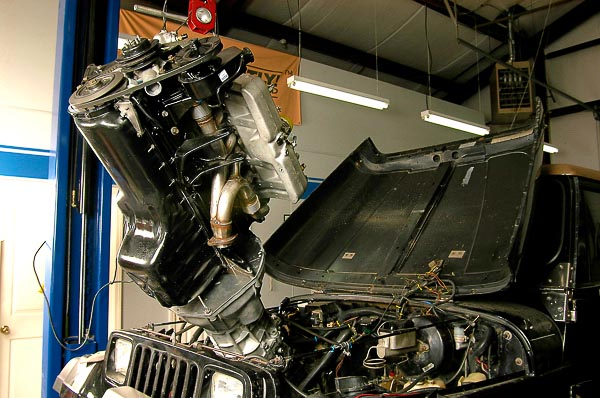 Inline six stroker long-block angling into a Jeep Wrangler chassis.