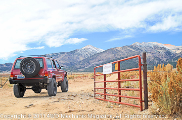 Author's XJ Cherokee facing the Sweetwater Range