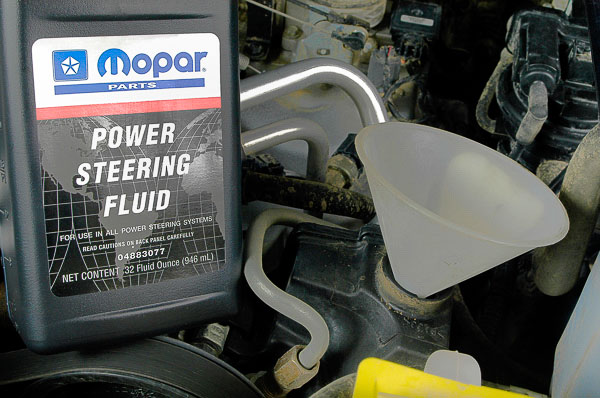 Using Mopar power steering fluid.