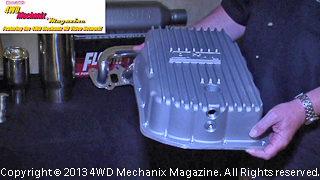 B&M transmission pan has fins, drain provision and temp sensor bung.