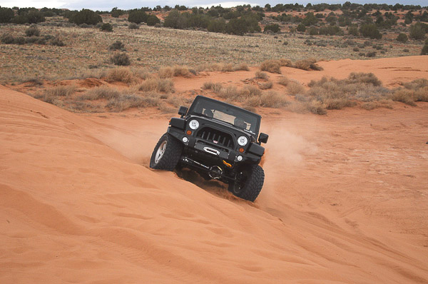 Mopar Concept Jeep 4WD on dunes at Moab, Utah.