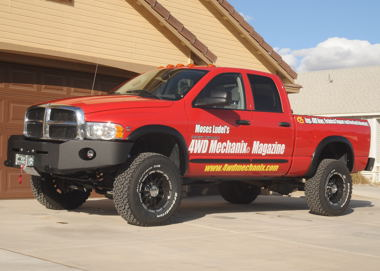 Dodge Ram truck with oversize tires and wheels