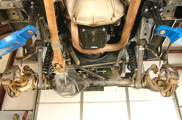 View forward of FTS rear suspension system.