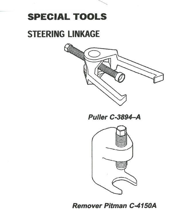 Use these types of specialty tools for pitman arm and tie-rod end removal.