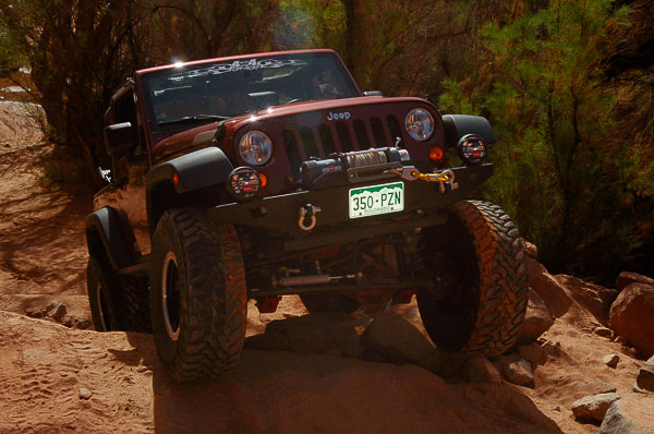 Jeep TJ Wrangler on the rocks at the Warn 2011 Moab Media Run.