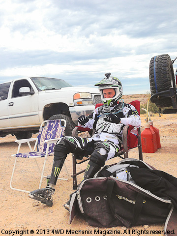 Jesse Williamson waiting to ride at Baja 1000