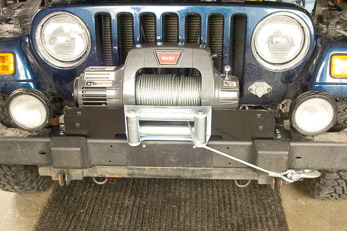 Warn 9.5Ti winch installed and ready for service.
