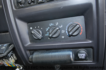 A/C control panel on the Jeep XJ Cherokee