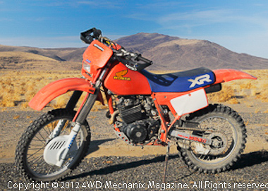 A 1984 Honda XR350R served as the conveyance for video equipment and access to the desert washes and rock crawls.