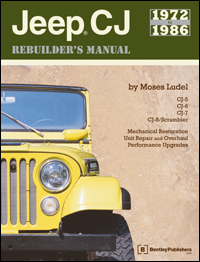 Click here for access to the Bentley Publishers website and information about the 1972-86 CJ Jeep Rebuilder's Manual by Moses Ludel.