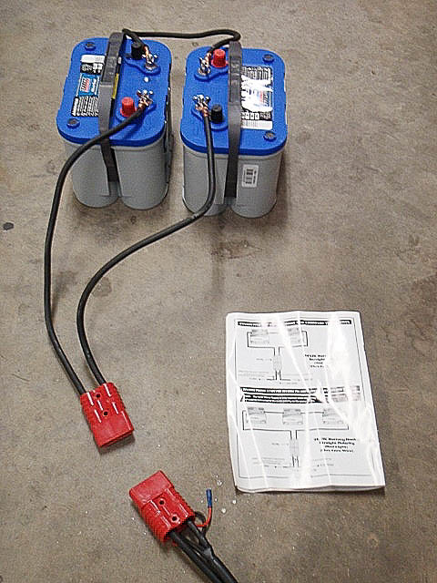 Batteries wired in series for Ready Welder power supply.