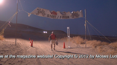 Lonely finish line near Fernley, Nevada, a checkered flag waiting for the next desert racer