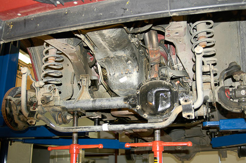 Stands support and keep axles in alignment.