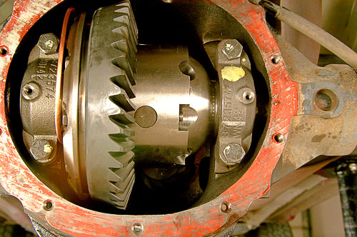 ARB Air Locker differential and new ring gear installed in the axle housing.