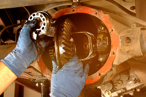 Removing differential carrier and ring gear assembly.