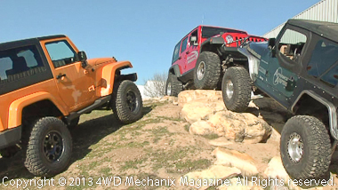 Fleet of Jeep TJ and JK Wrangler 4x4 test vehicles at Advance Adapters