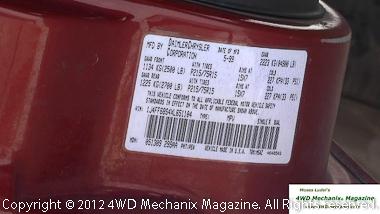 OEM Jeep Cherokee door sticker tire inflation details