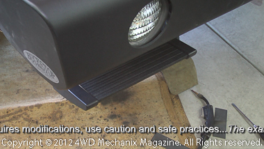 Trekstep retracted and fitting with aftermarket bumper