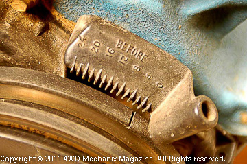 Typical Jeep/AMC inline four or six-cylinder timing cover and marks