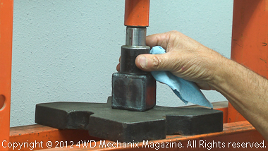 Using 20-ton press to test gas welding beads