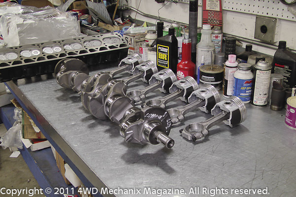 Jeep 4.6L stroker motor under construction at Hewes Performance Machine