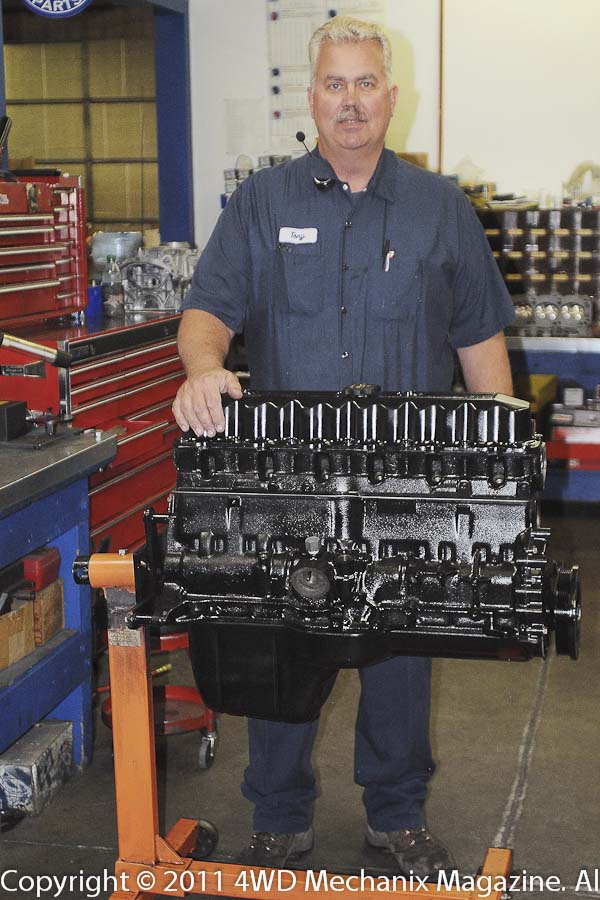 Tony Hewes and his 4.6L stroker Jeep inline six at Hewes Performance Machine, Reno, Nevada