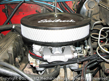 Edelbrock Pro Flow air cleaner accommodated fresh air supply for PCV system.